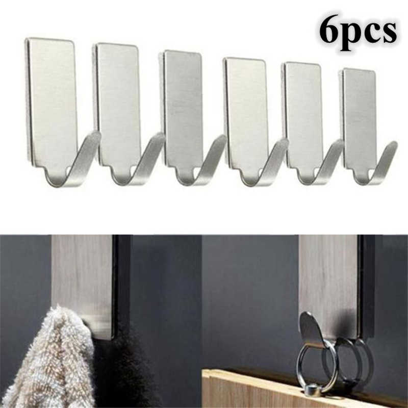 6pcs Adhesive Stainless Steel Towel Hooks Family Robe Hanging Hooks Hats Bag Family Robe Hats Bag Key Adhesive Wall Hanger #F