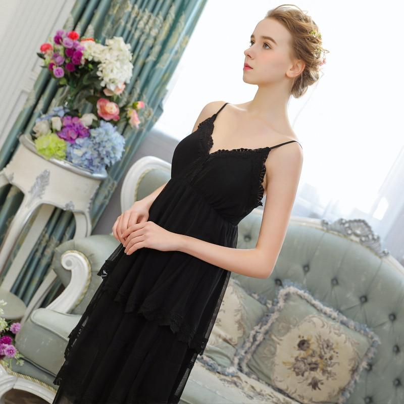 9ac51153be V Neck Summer Women Sleeveless Solid Black Nightgown Spaghetti Strap Viscose  Nightdress-in Nightgowns   Sleepshirts from Underwear   Sleepwears on ...