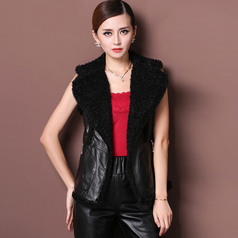 Natural sheepskin leather and faux fur waistcoats women contrast color turn down collar leather vests 2019 new autumn winter