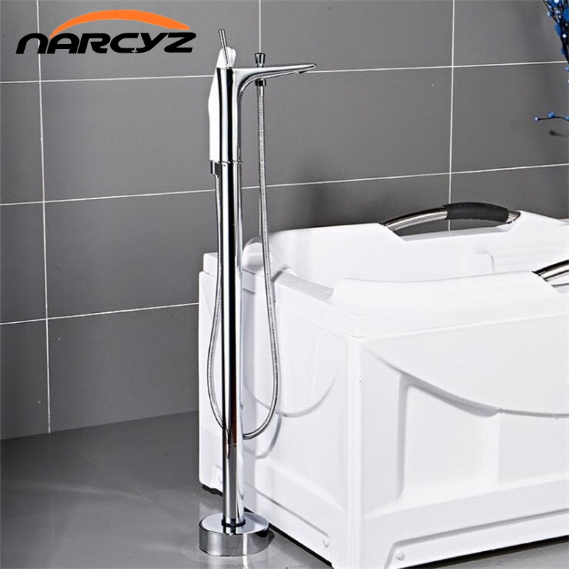 Bathtub Faucets Chrome Color Floor Mounted Free Standing Bathtub Faucet Shower Set Hot and Cold Mixer