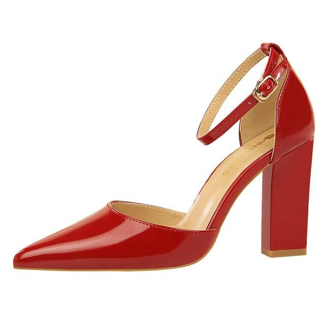 Marca de couro de Patente das mulheres bombas de salto alto sapatos elegantes mulheres D'Orsay & Two-Piece rasa saltos altos partido de escritório sandálias