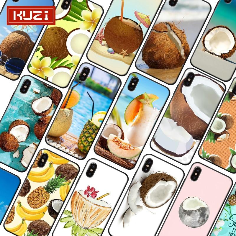 KUZI Beach Style Fruit Print Luxury Case for IPhone X XS 8 7 6 6s Coque Iphone Plus TPU Silicone Phone 2019 New