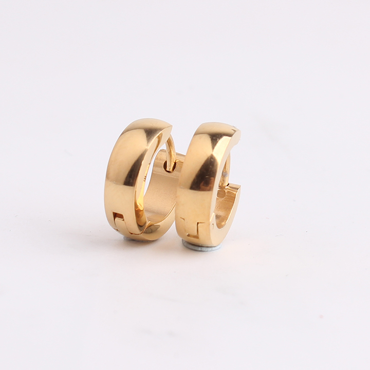 free shipping Punk gold color Smooth 316L Stainless Steel hip hop earrings fashion mens  ...