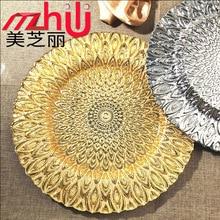 цена на Glass disc Hostal El Dorado tableware glass Peacock electroplating plate