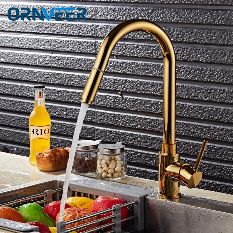 Household Kitchen Faucets Golden Single Handle Pull Out Kitchen Tap Single Hole Handle Swivel 360 Degree Water Mixer Tap 12092Household Kitchen Faucets Golden Single Handle Pull Out Kitchen Tap Single Hole Handle Swivel 360 Degree Water Mixer Tap 12092