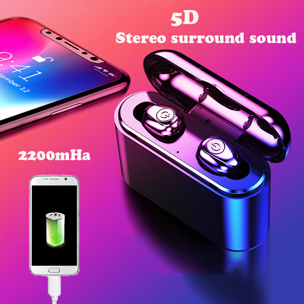 <font><b>TWS</b></font> <font><b>X8</b></font> Wireless Earbuds Bluetooth mini wireless 5.0 Headset with charging box for phone power Bank with 2200 mAh <font><b>5D</b></font> stereophone image