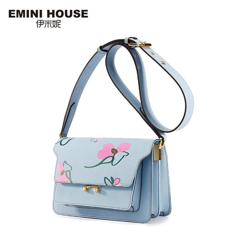 EMINI HOUSE Floral Print Women Messenger Bags Split Leather Women Shoulder Bag Famous Brands Crossbody Bags For Women