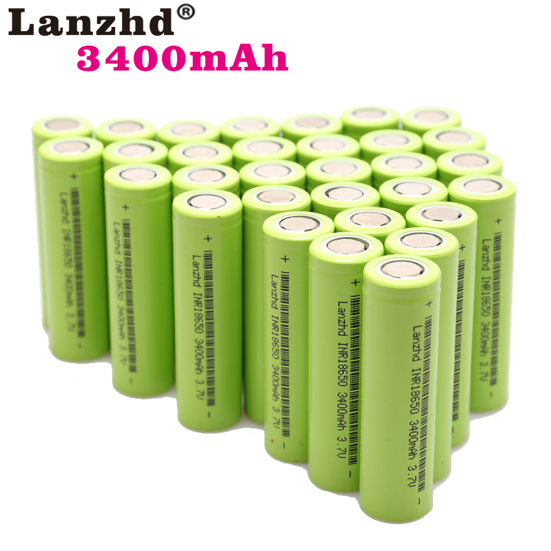40-400pcs  NEW 18650 3.7V 3400mAh Original INR18650 Rechargeable Li-ion 30a Current Battery For Laptop Mobile Power Notebook