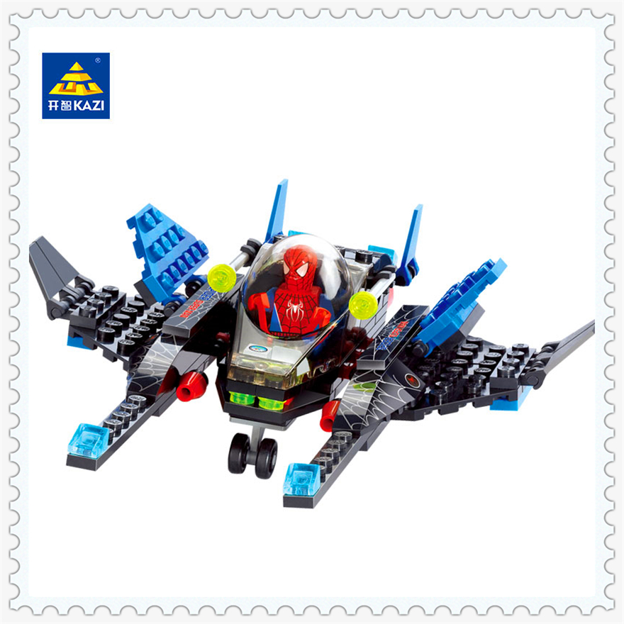 Super Heroes Spiderman Fighter Model Building Block Toys Compatible Legoe KAZI 6002 133Pcs DIY Figure Gift For Children kazi 8042 city series engineering bulldozer building block 117pcs diy educational toys for children compatible legoe