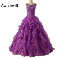 Custom Made 2019 Vestidos de 15 Anos Debutante Gowns Ball Gown Lace up Back Beading Ruffles Organza Purple Quinceanera Dresses