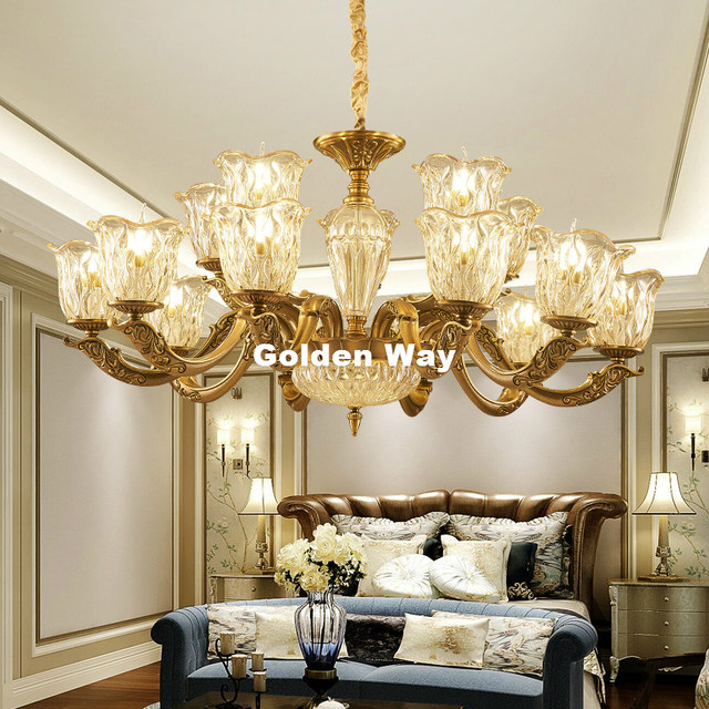 Antique Bronze Color Crystal Chandeliers Zinc Alloy Pendant Lamp Dining Room Living Lobby Hanging Lights E14 Led Ac Candle Bulbs