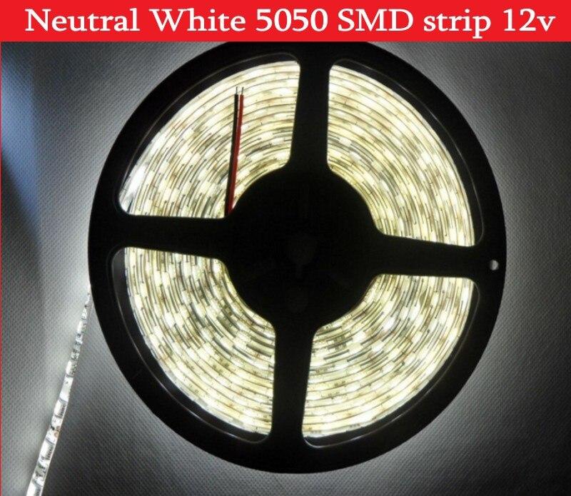 5050 SMD Neutral White LED Strip Light 5m 300leds Tape Light Natural Non Waterproof  IP65 DC12V Free Shipping
