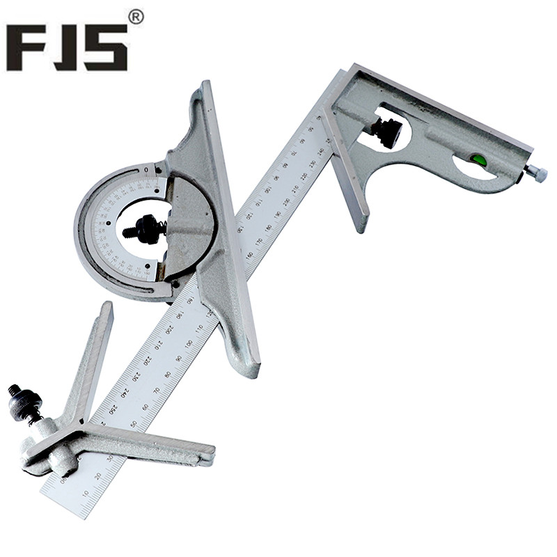 0 180 Degree Combination Square 300mm 12 adjustable Angle Ruler Protractor With Bubble Level Carpenter Tools