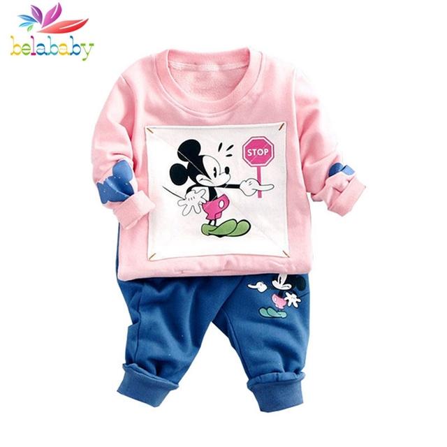 Belababy muchachos que arropan el sistema de dibujos animados lindo de la ropa del ratón del bebé top + pants de dos piezas trajes ropa de niños