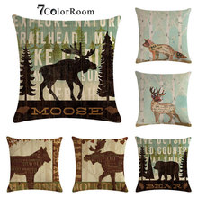 Animal Cotton linen Cushion Cover Fox Deer Elk Bear Moose Wolf Throw Pillow Cover for Home