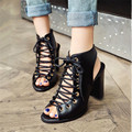 Plus Size 34-48 Lace-Up Gladiator Square High Heels women Sandals Rome Cross-tied Booties Sexy Open Toe Pumps shoes woman Boots