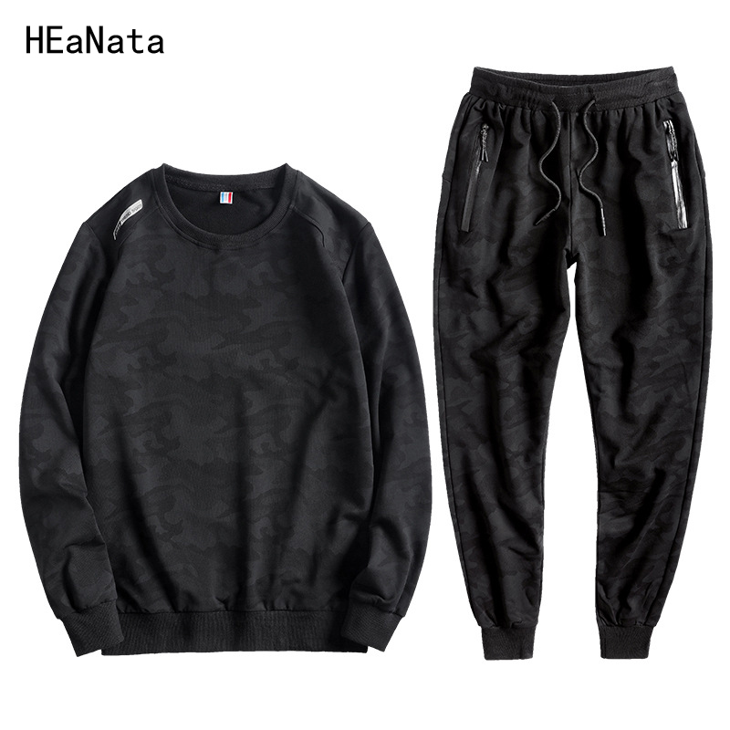 L-10XL New Tracksuits Men Camouflage Cotton Velvet Sweatshirt+Pants 2 Pieces Set Casual Sportsuits Male Autumn Winter Large Size