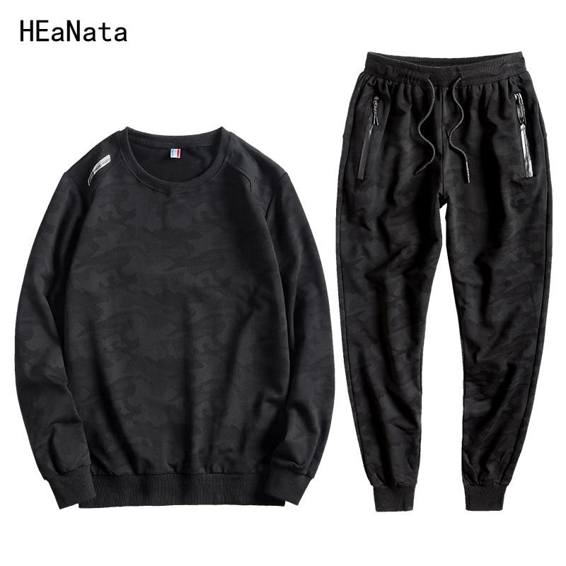 L-10XL New Tracksuits Men Camouflage Cotton Velvet Sweatshirt+Pants 2 Pieces Set Casual Sportsuits Male Autumn Winter Large Size