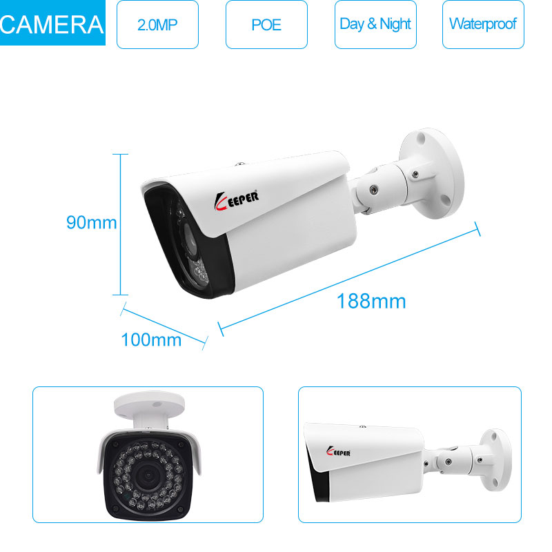 Keeper H.265 Full HD 1080P 8Channel CCTV System 8pcs 2MP Metal Outdoor IP Camera 8CH POE NVR CCTV Kit HDMI P2P Email Alarm 4