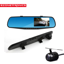 "Free Shipping CAR 4.3""HD1080 Dual Lens Video Recorder Dash Cam Rearview Mirror Car Camera Waterproof  DVR Rear View Camera 2010"