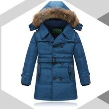 2016 New teenage Boys Winter Long Down Jackets Outerwear Coats Fashion Big Fur Collar Thick Warm White Duck Down 12-16Y