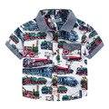 Новый 2 Цвет Baby Car семья Рубашка Мальчики Поезд пузырь автомобиль печати с коротким рукавом рубашки Дети топы оптом