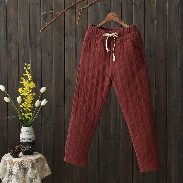 Chinese Winter Long Section Retro Quilted Cotton Lace Trousers Elastic Waist Pants Feet Thick Casual Pants Women