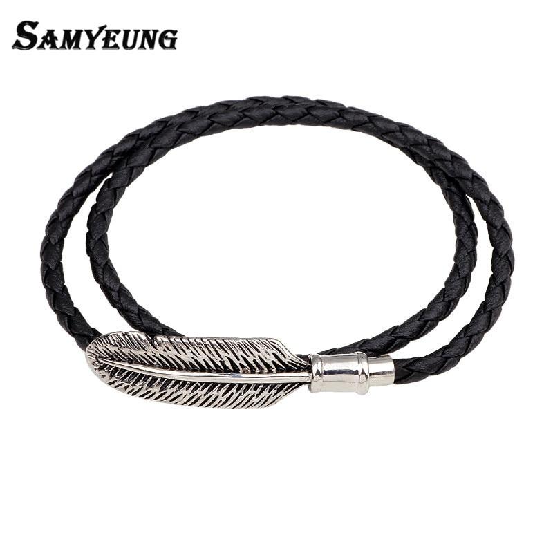 Boho Leather Bracelets for Women Men Feather Alloy Long Bracelet Male Pulseira Feminina Club Factory Jewelry Accessories Gift