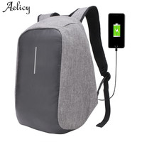 Aelicy New Canvas Men Backpack Anti Theft With Usb Charging Laptop Business Unisex Knapsack Shoulder Waterproof