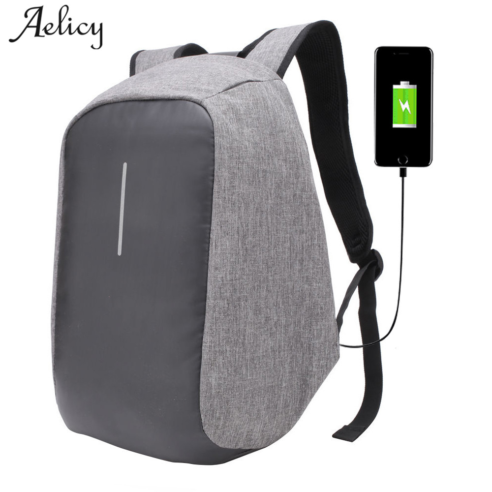 Aelicy New Canvas Men Backpack Anti Theft With Usb Charging Laptop Business Unisex Knapsack Shoulder Waterproof Women Travel Bag