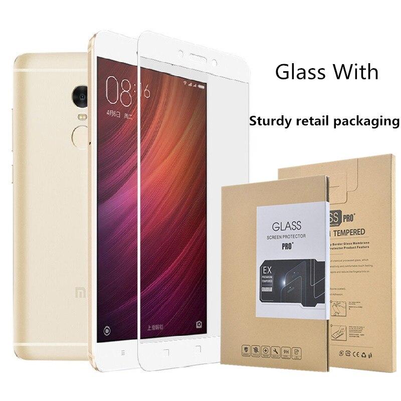 4Pro 4 completa cobertura de tela de Vidro Temperado Para Xiaomi Redmi Nota 4 coloful Tela película Protetora do telefone móvel + retail pacote