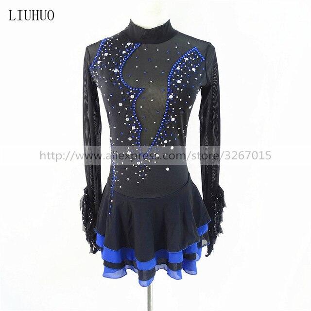 Robe de patinage artistique, manches longues, robe de patinage sur glace pour femmes, en Spandex noir, extensible, paillettes