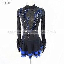 Łyżwiarstwo figurowe sukienka damska dziewcząt sukienka na łyżwach czarny elastan elastyczna odzież łyżwiarska cekiny długie rękawy łyżwiarstwo figurowe