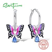 SANTUZZA Silver Earrings For Women 925 Sterling Silver Dangle Earrings Silver 925 Cubic Zirconia Brincos Party