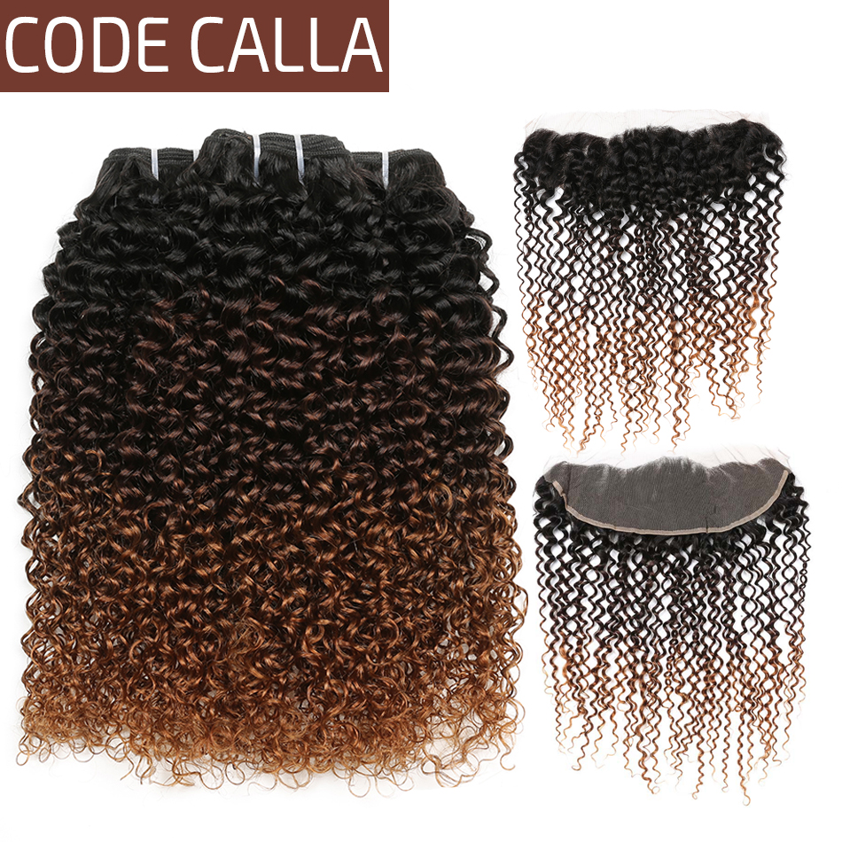 Code Calla Ombre Color Kinky Curly Bundles With 13*4 Lace Frontal Free Part Brazilian Raw Virgin Human Hair Bundle With Closure