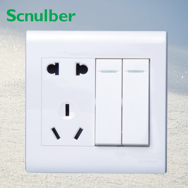 5 poles 10A 2p US 3P AU wall switch socket with double 2 way dual 2 gang push button