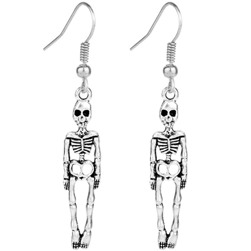 Punk Earrings Skull Halloween-Jewelry Skeleton Vintage Women Fashion Gift Antique