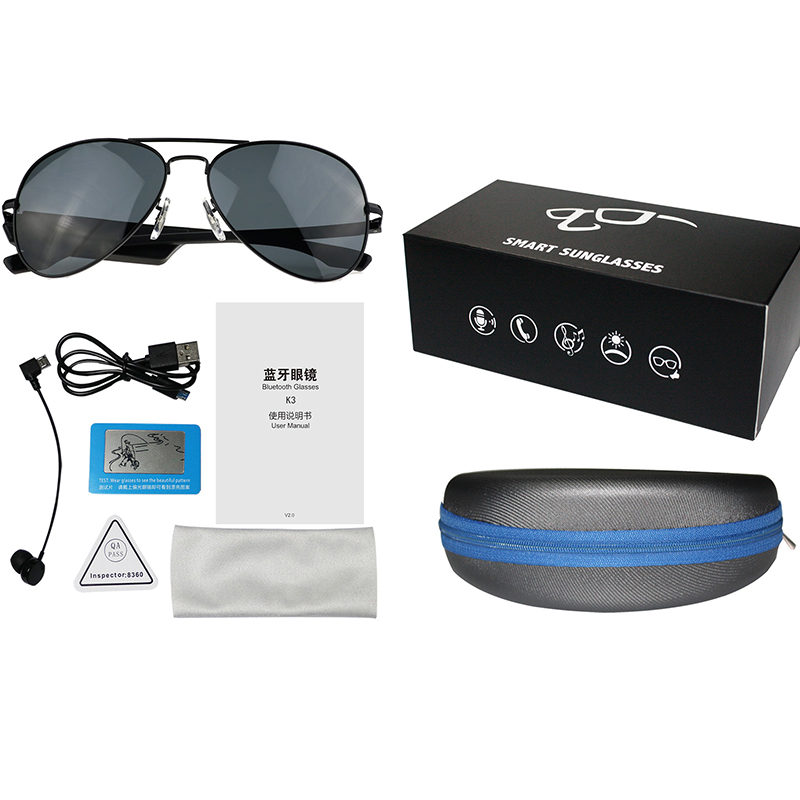 K3 Bluetooth Headset Sunglasses Polarized Glasses Wireless BT4.1 Music Earphone Micro USB Handsfree with Mic Outdoor Sunglasses hot sport stereo wireless bluetooth 4 0 headset telephone polarized driving sunglasses mp3 riding eyes glasses with 3 eyeglasses