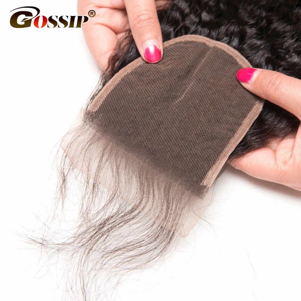 Gossip Hair Braziliaanse Remy Haar Weave Bundels Afro Kinky Krullend Haar 4x4 Vetersluiting Gratis Deel Vetersluiting menselijk Haar Sluitingen