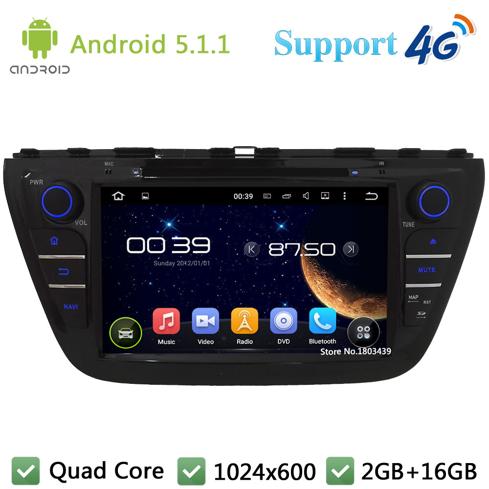 Quad Core 8 1024*600 Android 5.1.1 Car DVD Multimedia Player Radio USB DAB+ 3G/4G WIFI GPS Map For Suzuki S-Cross SX4 2014-2017 lg lb61v02s