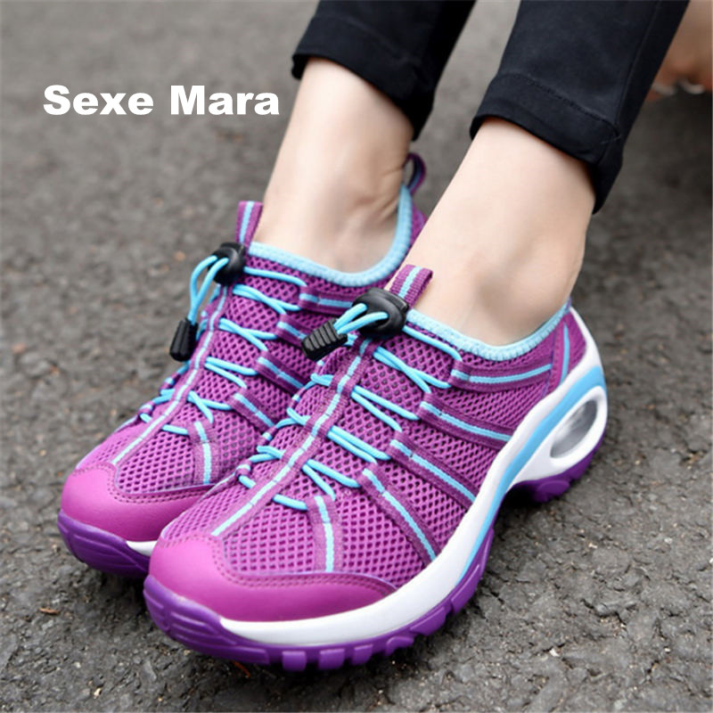 Hot 2018 Summer Sandals Women Sneakers Air damping Breathable mesh running shoes woman Sport Shoes arena Athletic Trainers D314