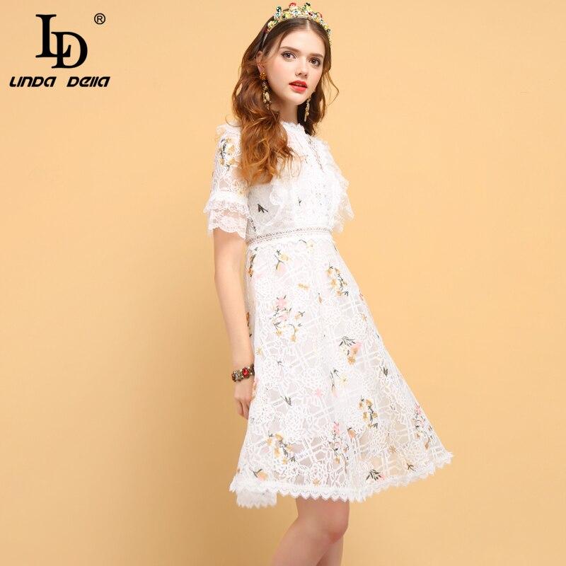 Nazan リンダデラファッションデザイナー夏カジュアルドレス女性の中空アウトフリル刺繍エレガントなレディースショートドレス LD Deniz