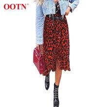 1f8974c8e6c263 OOTN leopardo Vintage impresión faldas las mujeres otoño Midi cintura alta  falda de invierno Irregular Casual rojo