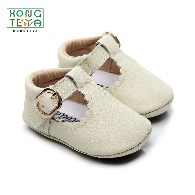 2019 Genuine Leather Baby First Walkers T-bar Buckle Paste Baby Moccasins Soft Bottom Princess Crib Shoes Baby Girl Infant Shoe