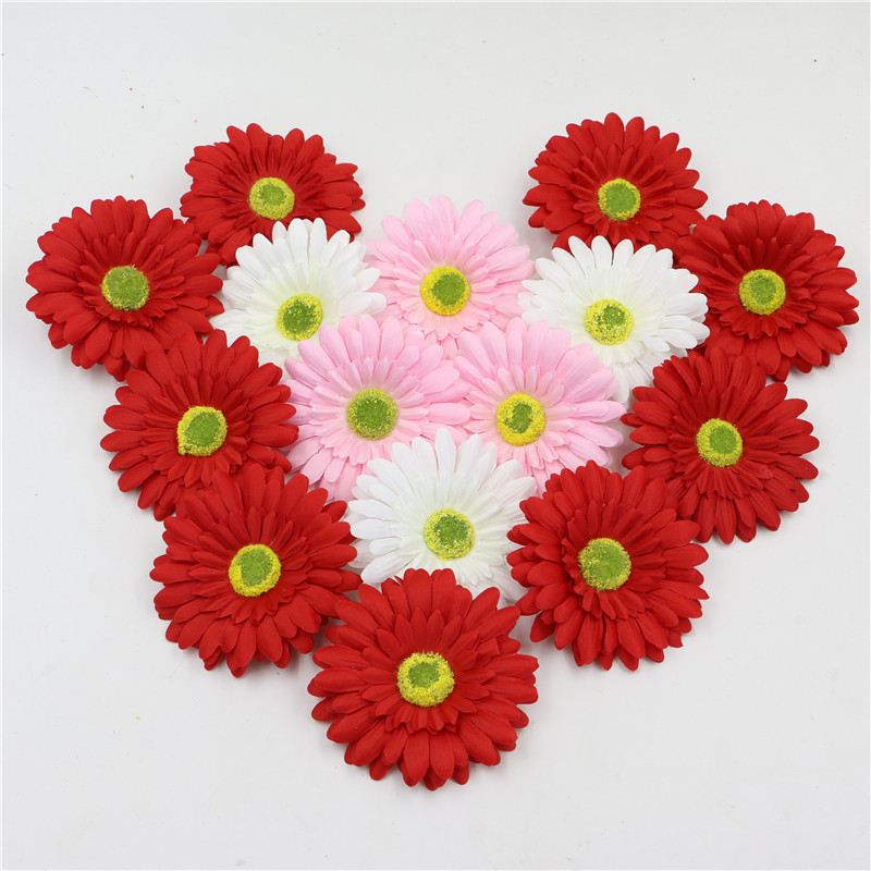 decorative flowers artificial silk gerbera daisy flower heads sunflowers for diy hair accessories garment home decoration - Decorative Flowers