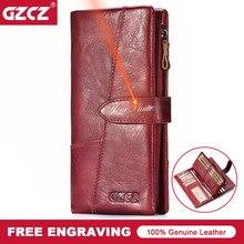 GZCZ женский кошелек из натуральной кожи гравировка женский длинный кошелек для монет Portomonee подарок для леди деньги держатель для карт Vallet Handy