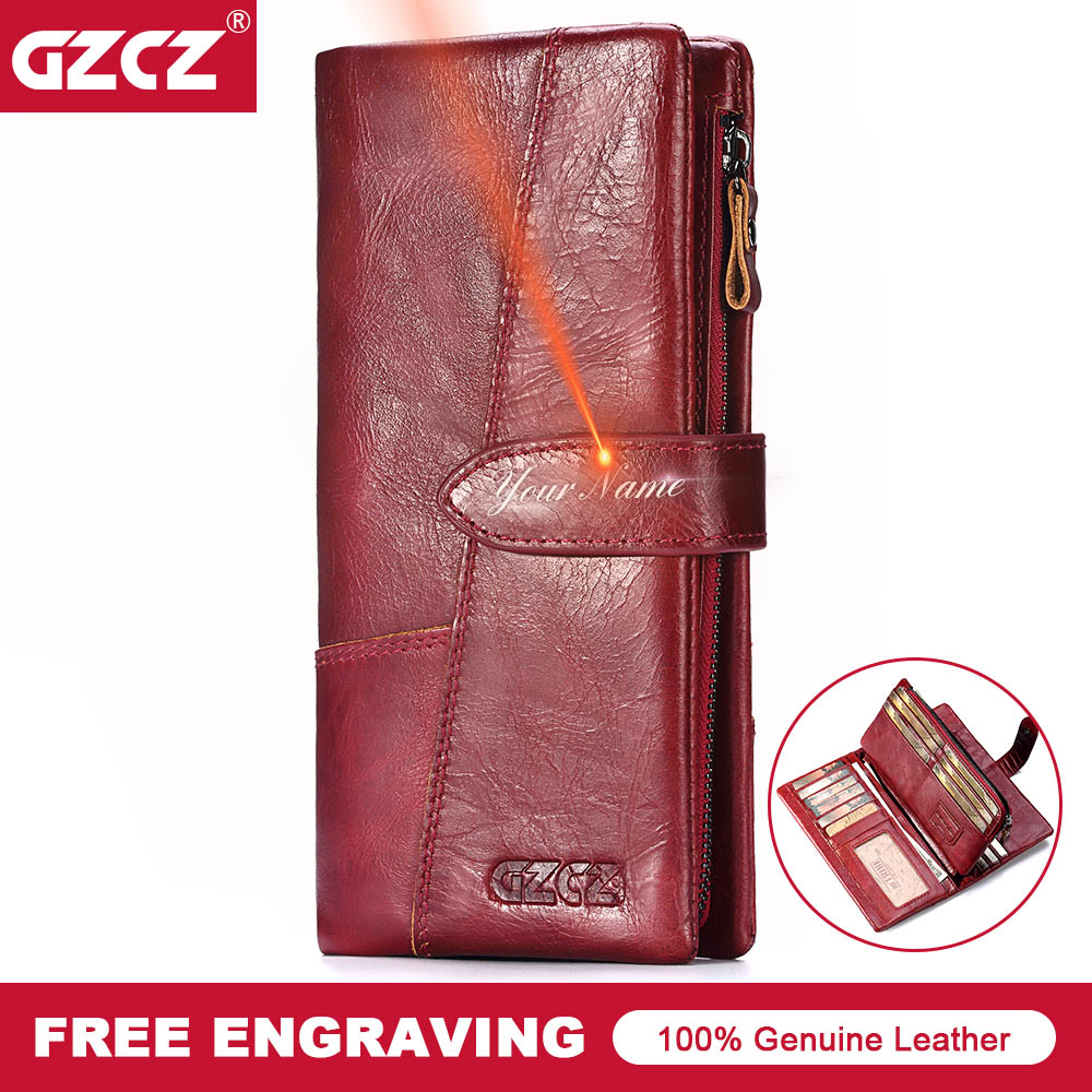 GZCZ Genuine Leather Women Wallet Free Engraving Female Long Coin Purse Portomonee Gift For Lady Money Card Holder Vallet Handy