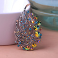 Elegant Alloy Austrian Crystal Brooches For Women Plants Vintage Jewelry Brooches Wedding Flowers Leaf Brooch Safety Pin broche