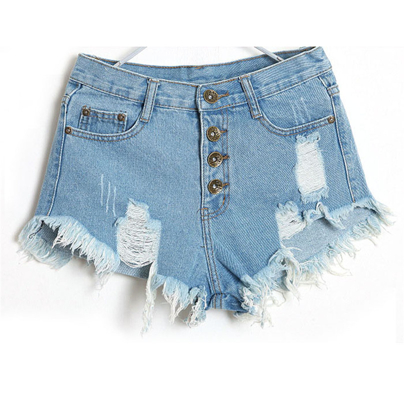 2017 Fashion 4 Buttons Elastic High Waist Shorts Feminino Denim Shorts for Women Loose  Size high quality Jeans Short MAR 6 2017 new fashion elastic high waist shorts feminino denim shorts for women slim pants blue jeans short plus size 34 cheap bands