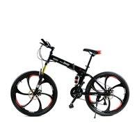HAO YUKNIGHT Tek Tekerlekli Kaplan Katlanır Dağ Bisikleti 21-speed Çift Şok Iki-Disk Frenler Bisiklet